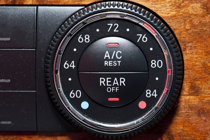 Climate control dial on an expensive sports car
