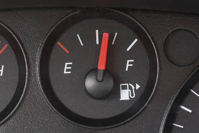 Fuel gauge showing half-full tank