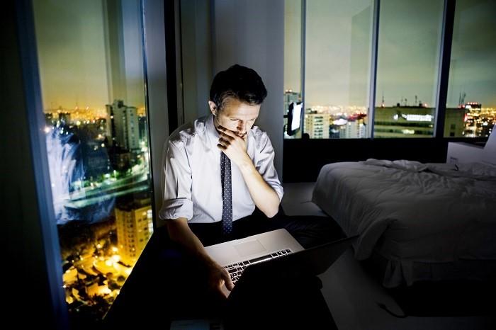 Man working long hours