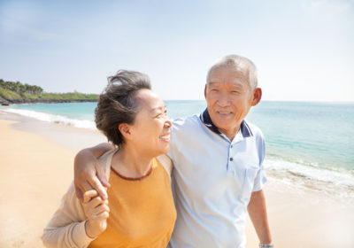 couple staying safe in sun and heat