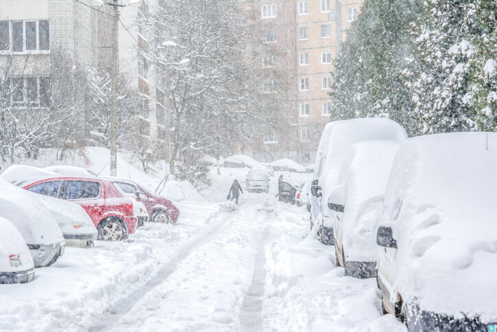 Cars Parked on Street After a Winter Storm