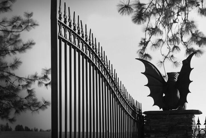 Gargoyle Guarding Gate