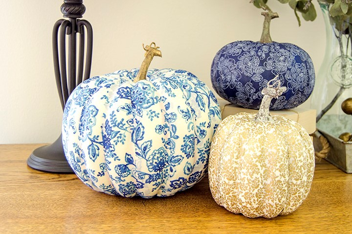 Fabric Covered Fall Pumpkins