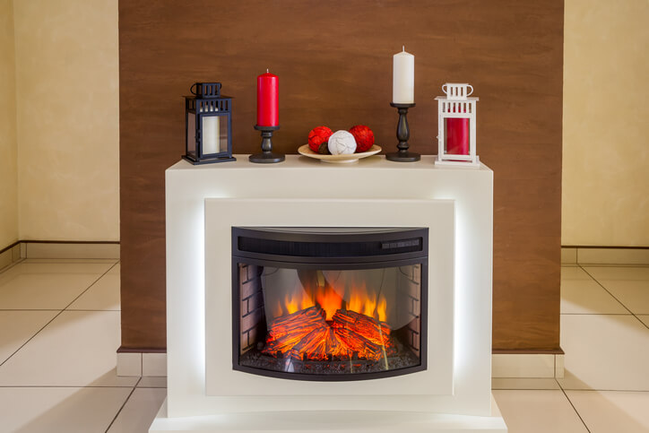 Winter Home Decor On Electric Fireplace